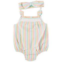 Baby Girls Stripe Ruffle Romper