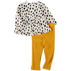 Baby Girls 2-pc. Leopard Long Sleeve Top Set