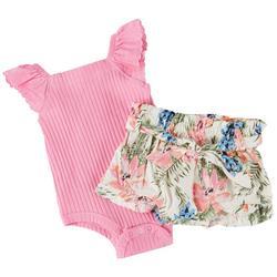 Baby Girls 2-pc. Ruffle Floral Short Set
