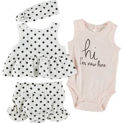 PL Baby Baby Girls 4-pc. Hi I'm New Here Dotted Short Set