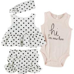 Baby Girls 4-pc. Hi I'm New Here Dotted Short Set