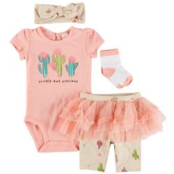 PL Baby Baby Girls 4-pc. Cactus Tulle Pant Set