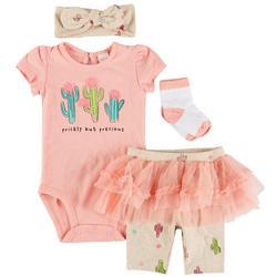 Baby Girls 4-pc. Cactus Tulle Pant Set