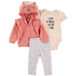 PL Baby Baby Girls 3-pc. I Am A Real Wild One Pant Set