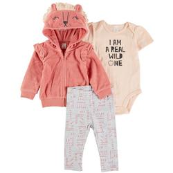 Baby Girls 3-pc. I Am A Real Wild One Pant Set