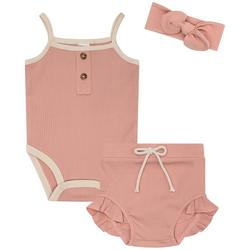Baby Girls 3-pc. Ribbed Tank Top Diaper Cover Set