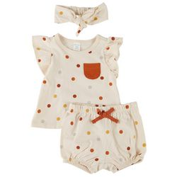 PL Baby Baby Girls 3-pc. Dotted Short Set