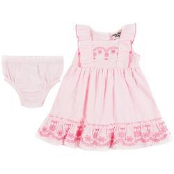 Baby Girls Flower Embroidered Sleeveless Dress
