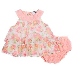Little Lass Baby Girls Floral Print Sleeveless Dress
