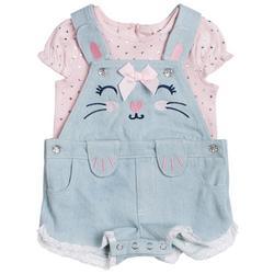 Baby Girls 2-pc. Bunny Shortall Set