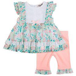 Little Lass Baby Girls 2-pc. Ruffle Floral Pant Set