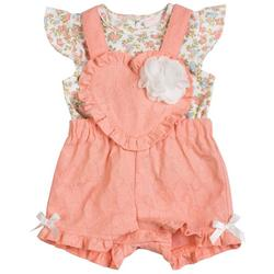 Baby Girls 2-pc. Floral Heart Shortall Set