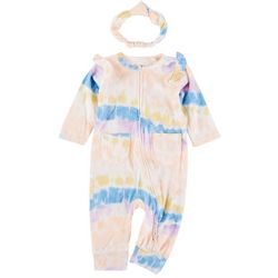 Jessica Simpson Baby Girls Tie Dye Pocket Pajamas