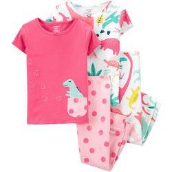 Carters Baby Girls 4-pc. Dino Pajama Set