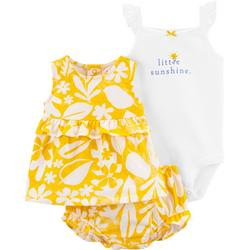 Baby Girls 3-pc. Little Sunshine Bodysuit Short Set
