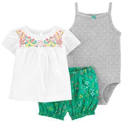 Baby Girls 3-pc. Flower Bodysuit Short Set