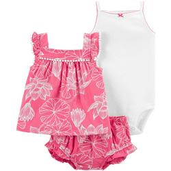 Baby Girls 3-pc. Floral Print Bodysuit Short Set