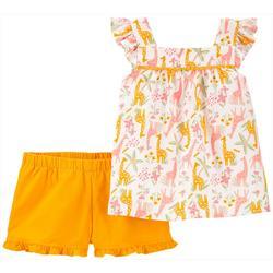 Baby Girls 2-pc. Giraffe Short Set