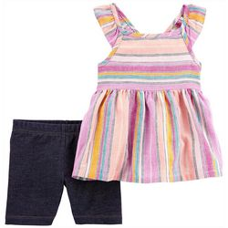 Carters Baby Girls 2-pc. Linen Striped Short Set