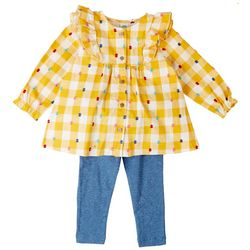 Little Me Baby Girls 2-pc. Gingham Woven Tunic Pant Set