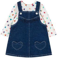 Little Me Baby Girls 2-pc. Heart Denim Jumper Set