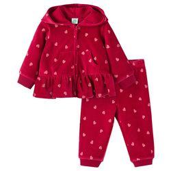 Little Me Baby Girls 2-pc. Heart Velour Pant Set