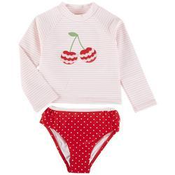 Baby Girls 2-pc. Cherry Rashguard Swimsuit Set