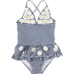 Baby Girls Striped Daisy Swimsuit