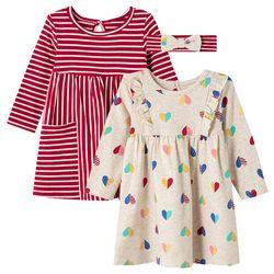 Little Me Baby Girls 3-pc. Heart Stripe Dress Set