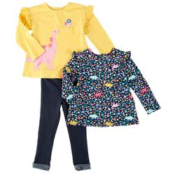 Little Me Baby Girls 3-pc. Floral Dino Pant Set