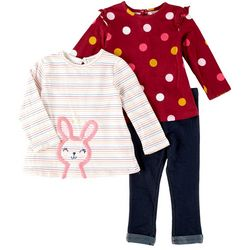 Little Me Baby Girls 3-pc. Bunny Dot Pant Set