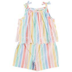 Little Me Baby Girls Striped Woven Romper