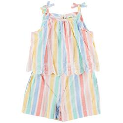 Baby Girls Striped Woven Romper