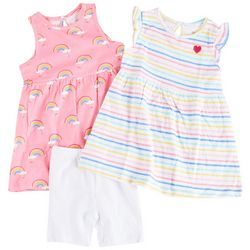 Little Me Baby Girls 3-pc. Rainbow Stripe Dress Set