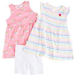 Baby Girls 3-pc. Rainbow Stripe Dress Set