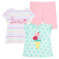 Little Me Baby Girls 3-pc. Sweet Ice Cream Short Set