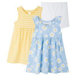 Little Me Baby Girls 3-pc. Daisy Stripe Dress Set