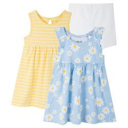 Baby Girls 3-pc. Daisy Stripe Dress Set