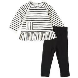 Baby Girls 2-pc. Striped Long Sleeve Top Set