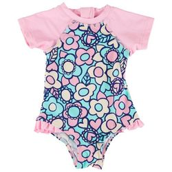 Floatimini Baby Girls Floral Rashguard Swimsuit