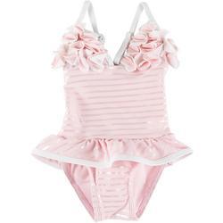Baby Girls Stripe Petals Swimsuit