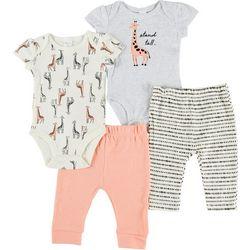 PL Baby Baby Girls 4-pc. Giraffe Pant Set