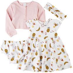Baby Girls 4-pc. Fruit Dress & Cardigan Set