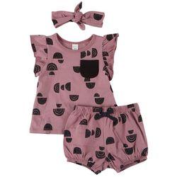 PL Baby Baby Girls 3-pc. Geometric Short Set