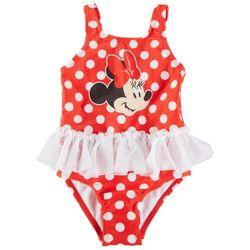 Disney Minnie Mouse Baby Girls Polka Dot Ruffle Swimsuit