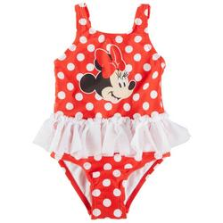 Minnie Mouse Baby Girls Polka Dot Ruffle Swimsuit