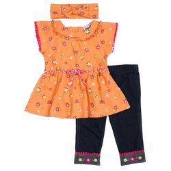 Little Lass Baby Girls Floral Pant 3-pc. Set