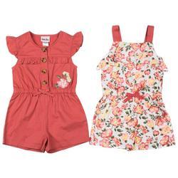 Baby Girls 2-pk. Solid & Floral Romper Set