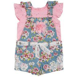 Little Lass Baby Girls 2-pc. Floral Denim Shortall
