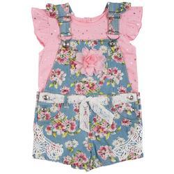 Baby Girls 2-pc. Floral Denim Shortall Set